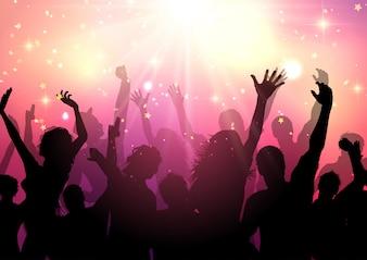 Silhouette di un pubblico di partito