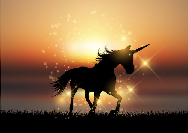 Silhouette di un unicorno in un paesaggio tramonto