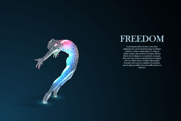 Silhouette di un uomo che salta. concetto di libertà.