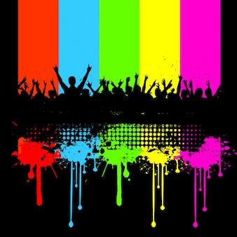 Silhouette di una folla su un grunge background