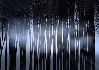 Silhouette di una foresta di notte