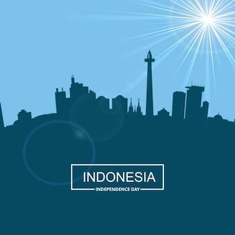 Silhouette indonesia con la tipografia