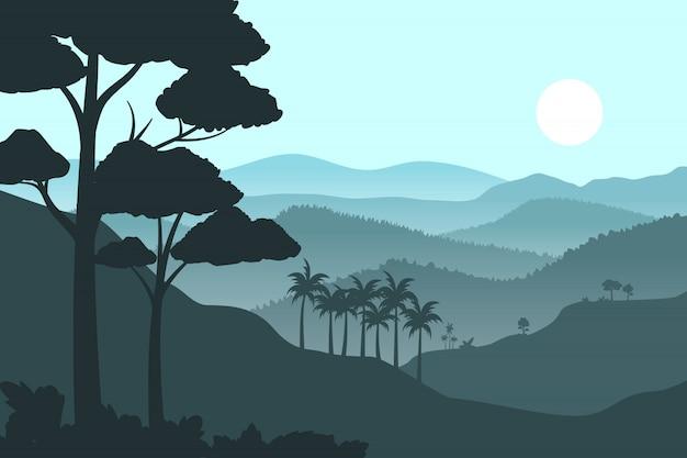 Silhouette montagne sullo sfondo