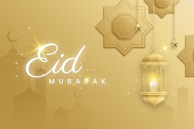 Silhouette moschea e candela design piatto eid mubarak
