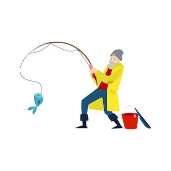 Silhouette nera di un pescatore maschio, un uomo pesca un pesce. illustrazione isolata di vettore di una siluetta nera di un pescatore con una canna da pesca e un pesce.