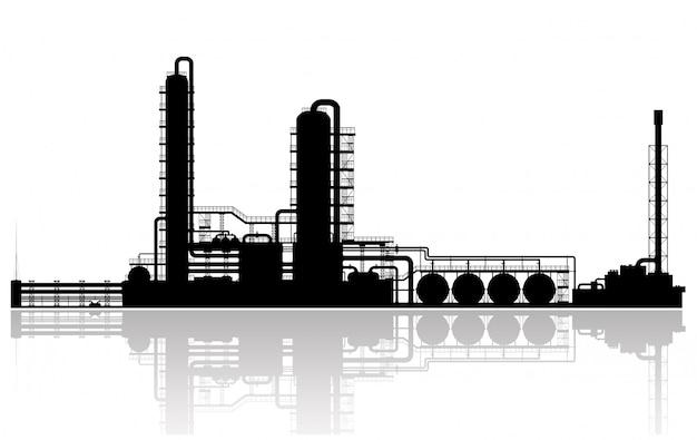 Silhouette raffineria di petrolio