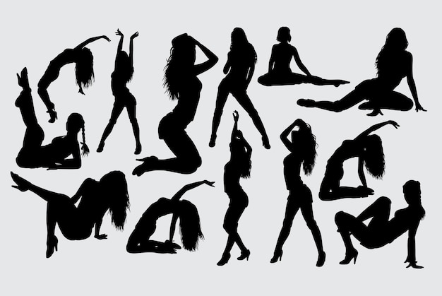 Silhouette sexy azione femminile