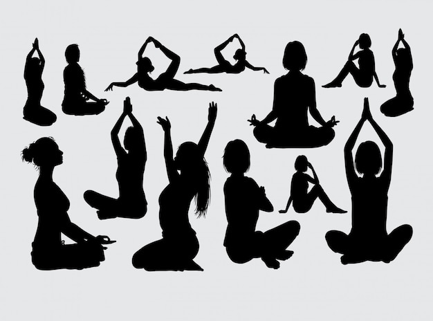 Silhouette sport meditazione