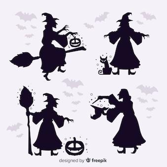 Silhouette strega di halloween