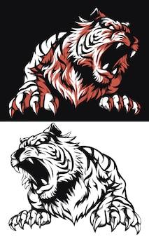Silhouette tigre ruggente vista frontale icona logo illustrazione in stile bianco e nero