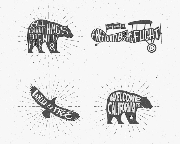 Silhouette vintage disegnata a mano per t-shirt