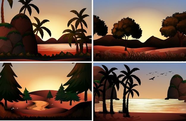 Silhouette vista di oceano e fiumi illustrazione