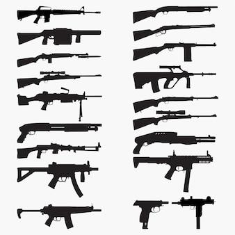 Silhouettes guns