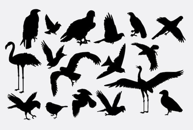 Siluetta animale dell'animale del falco e dell'aquila della gru