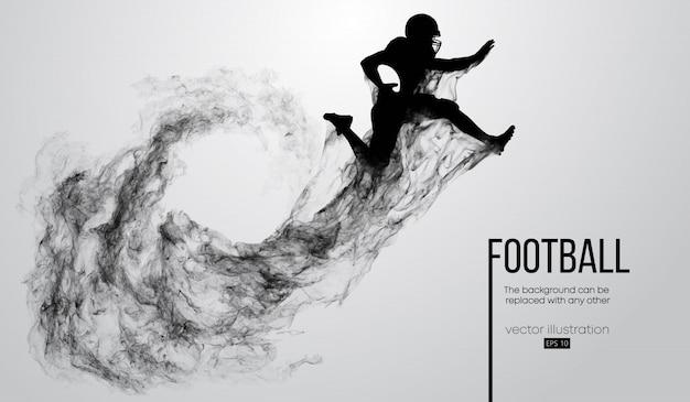 Siluetta astratta di un giocatore di football americano su priorità bassa bianca da particelle, polvere, fumo, vapore. giocatore di football che salta con la palla. rugby.