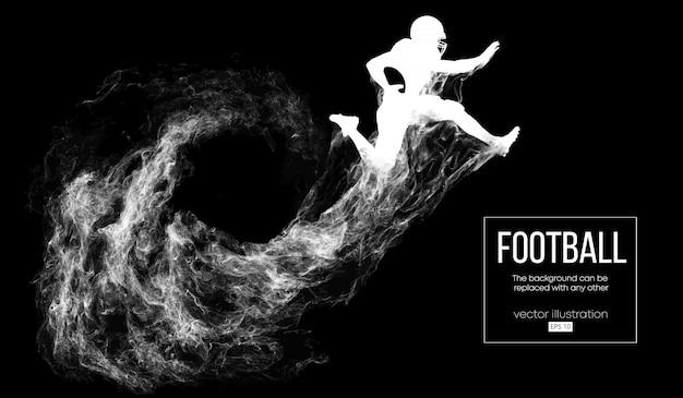 Siluetta astratta di un giocatore di football americano su sfondo nero scuro da particelle, polvere, fumo, vapore. giocatore di football che salta con la palla. rugby.