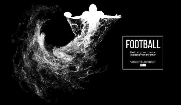 Siluetta astratta di un giocatore di football americano su sfondo nero scuro da particelle, polvere, fumo, vapore. il giocatore di football tiene la palla, vincitore. rugby.