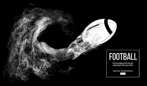 Siluetta astratta di un pallone da football americano su sfondo nero scuro da particelle, polvere, fumo, vapore. vola palla da calcio. rugby.