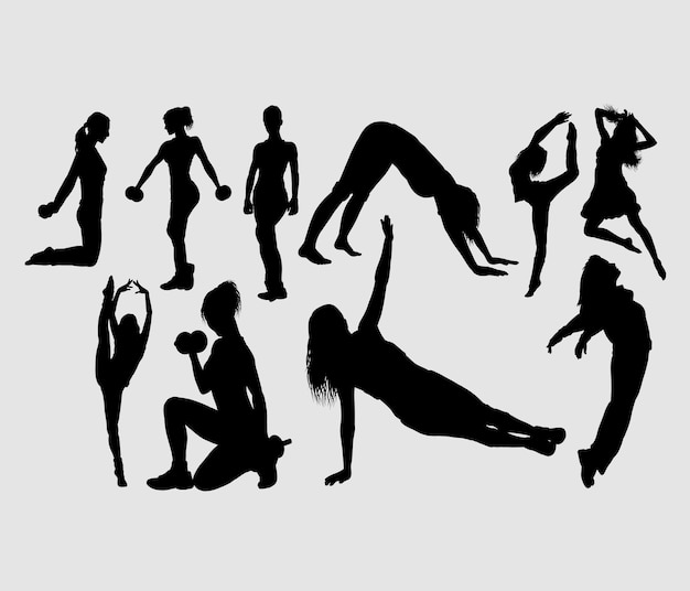 Siluetta attraente di sport della ragazza di ballo aerobico e di forma fisica