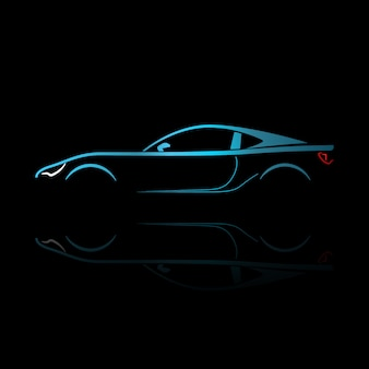 Siluetta blu dell'automobile sportiva con la riflessione.