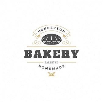 Siluetta d'annata della torta dell'illustrazione di vettore di logo o del distintivo del forno per il negozio del forno