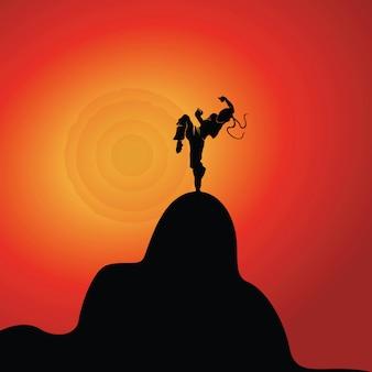 Siluetta del carattere di karateca sull'illustrazione della montagna
