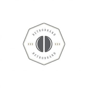 Siluetta del fagiolo del modello dell'emblema della caffetteria con la retro illustrazione di vettore di tipografia