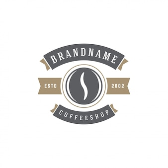 Siluetta del fagiolo del modello dell'emblema della caffetteria