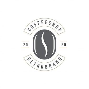 Siluetta del fagiolo del modello di logo della caffetteria con la retro illustrazione di vettore di tipografia