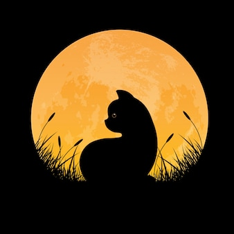 Siluetta del gatto che si siede nel campo di erba con la priorità bassa della luna piena