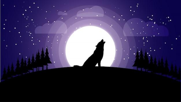Siluetta del lupo di notte contro la luna