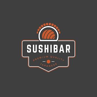 Siluetta del rotolo di salmone del modello di logo del negozio di sushi con retro tipografia