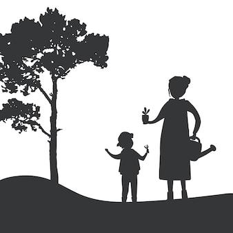 Siluetta del vettore di giardinaggio del figlio e della madre