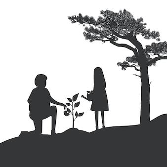 Siluetta del vettore di giardinaggio della figlia e del padre
