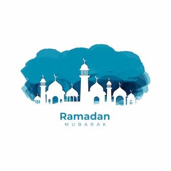 Siluetta dell'acquerello eid mubarak vector