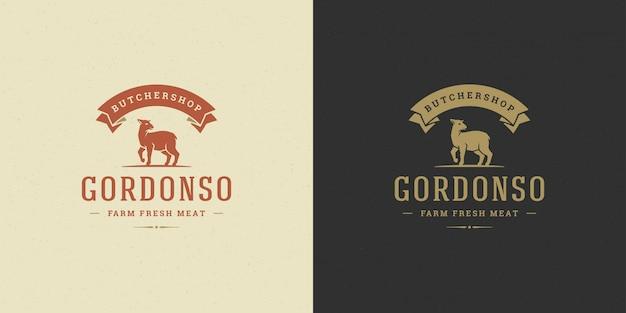 Siluetta dell'agnello dell'illustrazione di vettore di logo di macelleria buona per il distintivo dell'azienda agricola o del ristorante