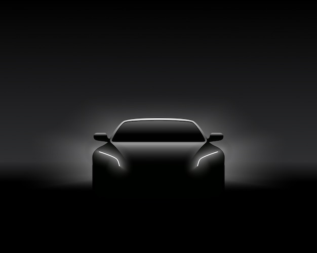Siluetta dell'automobile di front view dark concept