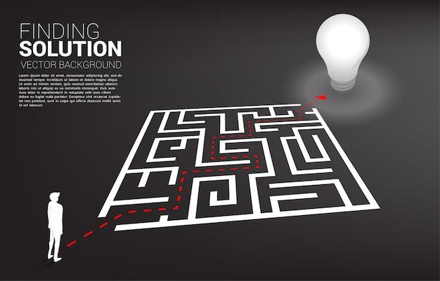 Siluetta dell'uomo d'affari con il percorso dell'itinerario per uscire dal labirinto alla lampadina