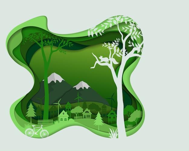 Siluetta della campagna nel paesaggio di colore verde
