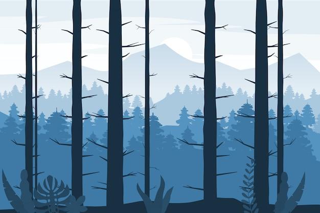 Siluetta della foresta alberi di legno, cespugli e boschetti sfondo astratto