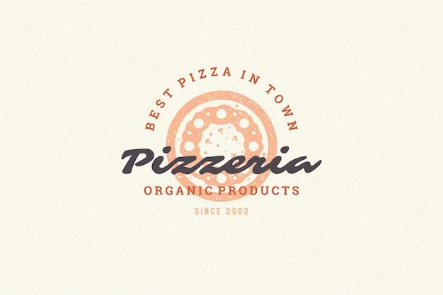 Siluetta della pizza logo incisione e stile disegnato a mano tipografia moderna vintage.