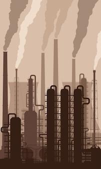 Siluetta della raffineria di petrolio con i camini di fumo