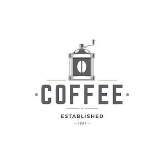 Siluetta della smerigliatrice del modello di logo della caffetteria con la retro illustrazione di vettore di tipografia