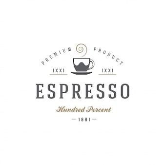 Siluetta della tazza del modello dell'emblema del negozio di tè o del caffè con la retro illustrazione di vettore di tipografia
