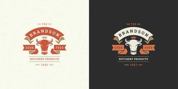 Siluetta della testa della mucca dell'illustrazione di vettore di logo di macelleria buona per il distintivo dell'azienda agricola o del ristorante