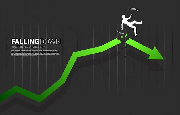 Siluetta dello slittamento dell'uomo d'affari e cadere dalla freccia crescente incrinata