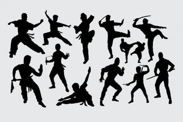 Siluetta di ninja di arte marziale di kungfu