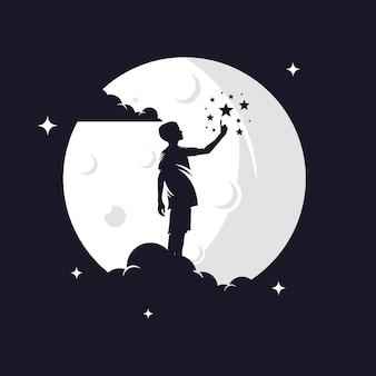 Siluetta di raggiungimento delle stelle del bambino contro la luna