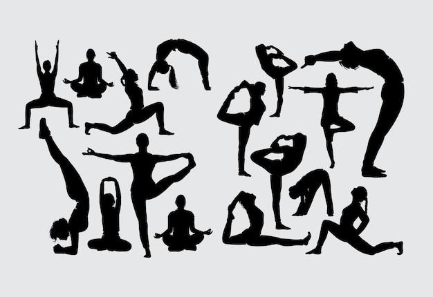 Siluetta di sport di allungamento e di forma fisica di yoga aerobico