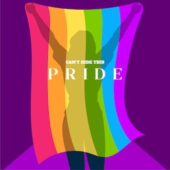 Siluetta di una ragazza che tiene una bandiera di gay pride